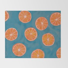 hand-painted california orange slices Throw Blanket