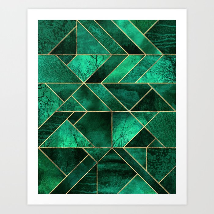 Abstract Nature Emerald Green Art Print By