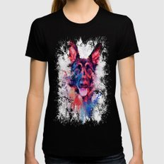 Drippy Jazzy German Shepherd Colorful Dog Art by Jai Johnson Black Womens Fitted Tee X-LARGE