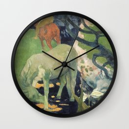 The White Horse by Paul Gauguin Wall Clock