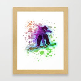 Paint splatter rainbow snowboarder Framed Art Print