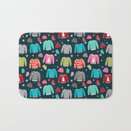 Winter Sweater weather festive holiday snowflakes snow day fun sledding Bath Mat