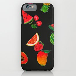 Hand drawn fruity summer time pattern black background iPhone Case