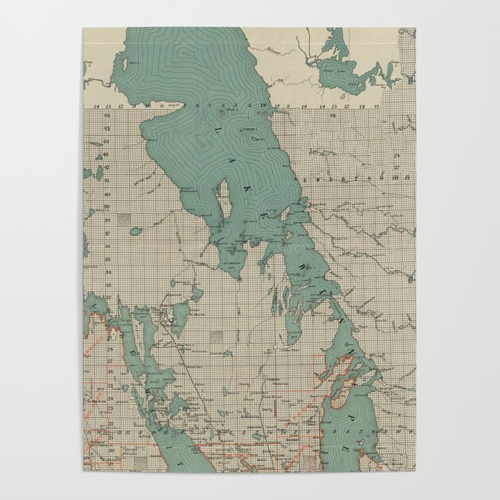 Winnepeg Canada Calendar Map Vintage Map of Lake Winnipeg Canada (1915) Poster by bravuramedia