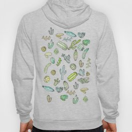 Cute Girly Watercolor Paint Summer Cactus Pattern Hoody