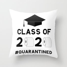 Class of 2020 quarantined funny lettering with toilet paper and graduation cap.  Throw Pillow