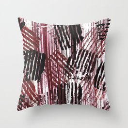 Red black lines Throw Pillow