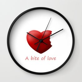 A bite of love (nibbled heart 2) with words Wall Clock