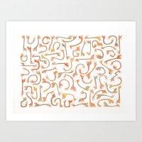 giraffes Art Prints featuring Giraffes by Alison Sadler's Illustrations