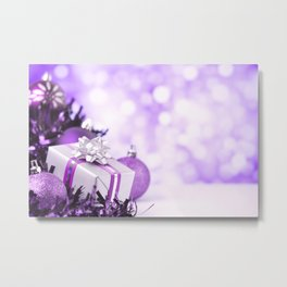 Purple Christmas scene with baubles and gift Metal Print