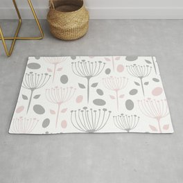 Floral Prints, Pink and Gray and White, Cute Prints Rug
