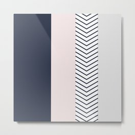 Navy Blush and Grey Arrow Metal Print