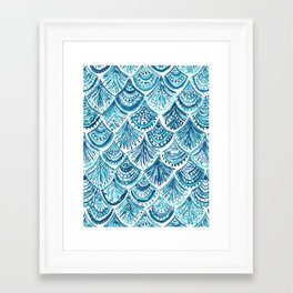 NAVY LIKE A MERMAID Fish Scales Watercolor Framed Art Print