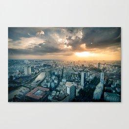 sunset over city Canvas Print