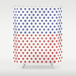 Red and blue stars pattern Shower Curtain