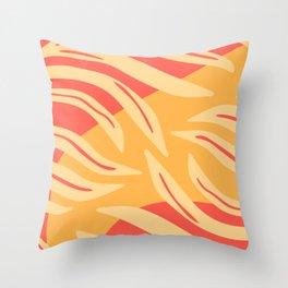 Orange Botanical Pattern Throw Pillow