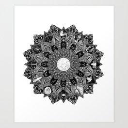 Zodiac Signs Mandala Art Print
