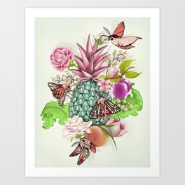 Glam Tropical - silver version Art Print
