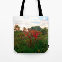 Red Weeds Tote Bag