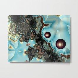 Shadow Blues Fractal Metal Print