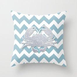 Silver Crab Throw Pillow