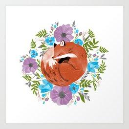 Sleepy fox in a bed of flowers Art Print