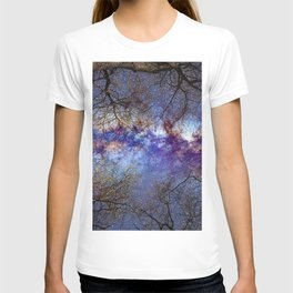 Fantasy stars. Milkyway through the trees. T-shirt