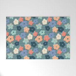 Peach and Aqua Flower Grid Welcome Mat