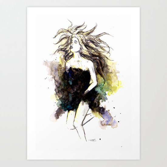 Watercolor Girl Art Print