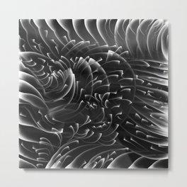 Sea Swirls, Black and White Metal Print