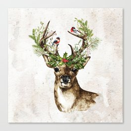 Rustic Christmas Deer Canvas Print