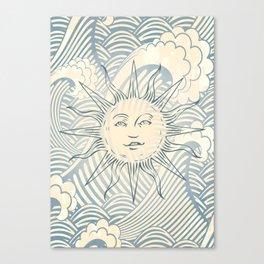 Sun sitting amongst the ocean Canvas Print