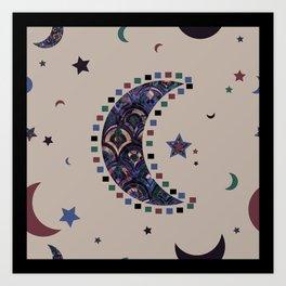 Boho Luna Pattern Design Art Print