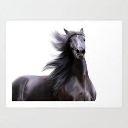 Black running horse Art Print