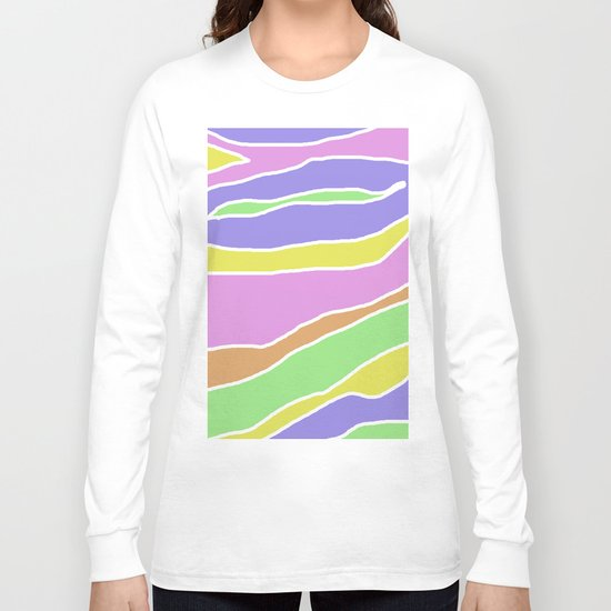Pastel Current - Pink, blue, yellow and green pastel abstract painting Long Sleeve T-shirt