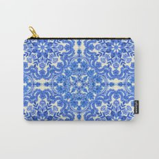 Cobalt Blue & China White Folk Art Pattern Carry-All Pouch