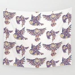 Owls in Flight – Mauve Palette Wall Tapestry