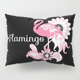 Modern Black Pink Flamingo  Pillow Sham