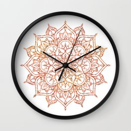 Pink & Orange Mandala on White Wall Clock