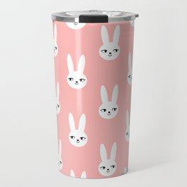 Bunny Rabbit pink and white spring cute character illustration nursery kids minimal floral crown Travel Mug