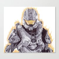 master chief Canvas Prints featuring Halo Master Chief by DeMoose_Art