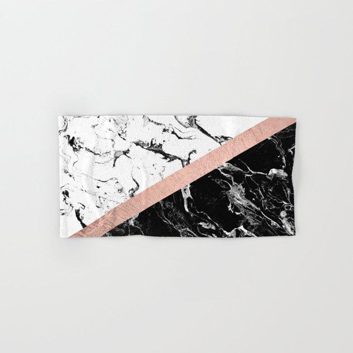 Modern black white marble color block rose gold Hand & Bath Towel