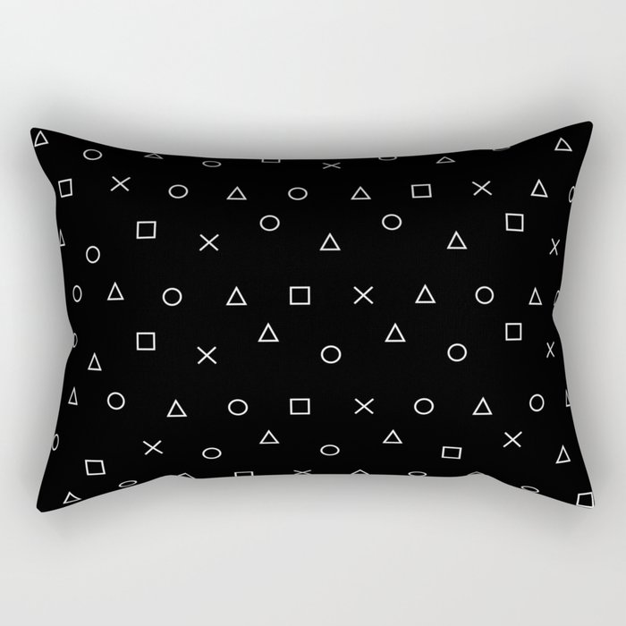black gaming pattern - gamer design - playstation controller symbols Rectangular Pillow