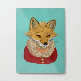 Sophisticated Fox Art Print Metal Print