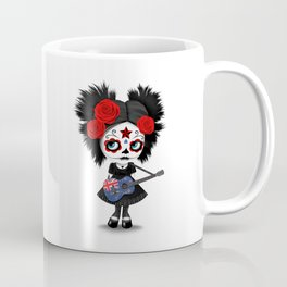Day of the Dead Girl Playing New Zealand Flag Guitar Coffee Mug