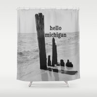 michigan Shower Curtains featuring Hello Michigan by KimberosePhotography