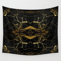black and gold Wall Tapestries featuring Black & Gold by Coconuts & Shrimps