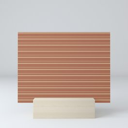Sherwin Williams Ligonier Tan SW 7717 Horizontal Line Patterns 3 on Cavern Clay Warm Terra Cotta Mini Art Print
