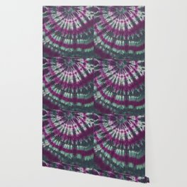 Tie Dye Spiral Green Purple Wallpaper