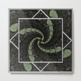Spiralling Water Lilies Metal Print
